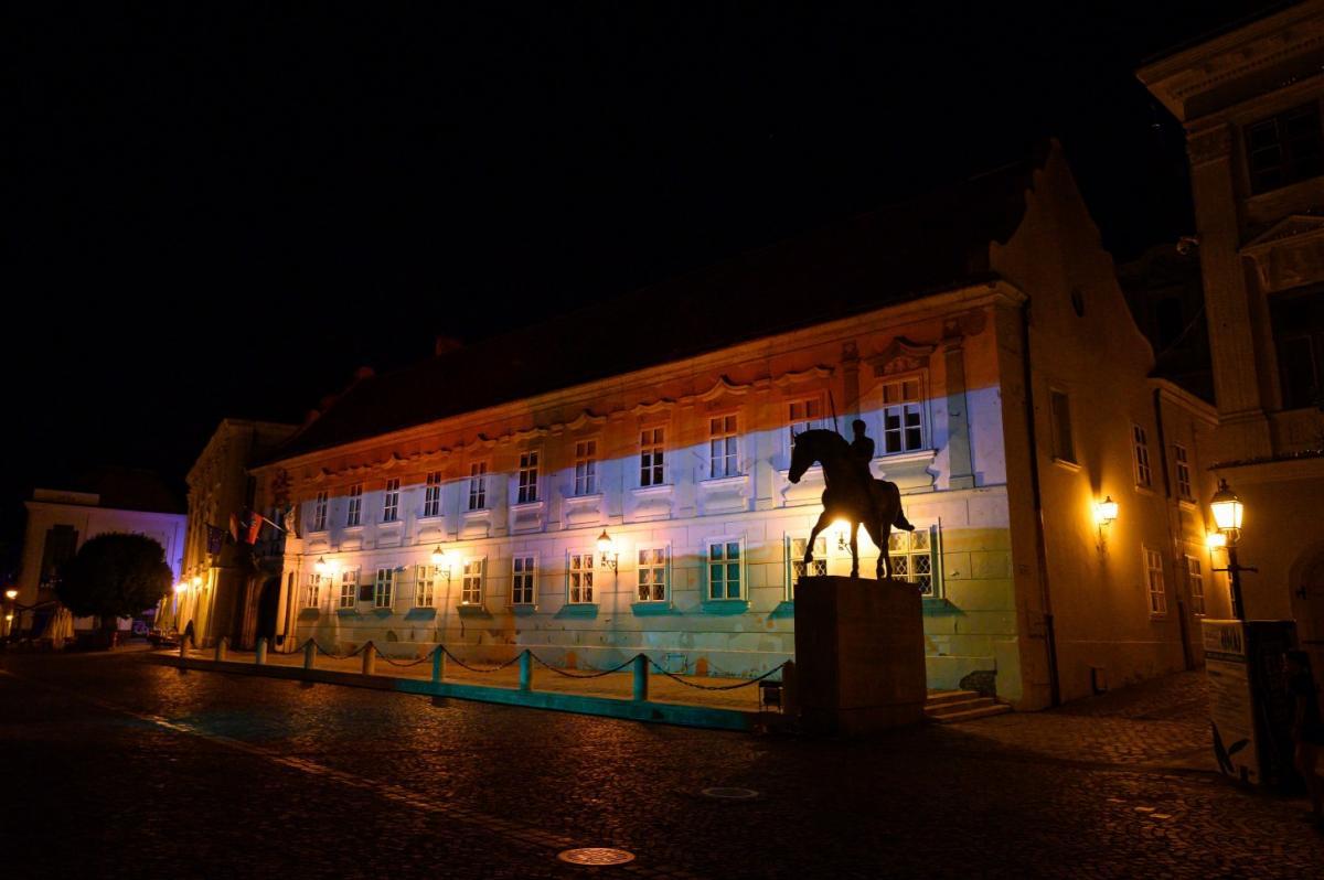 Piros-fehér zöldbe öltözött a székesfehérvári Városháza kedd estétől csütörtök reggelig