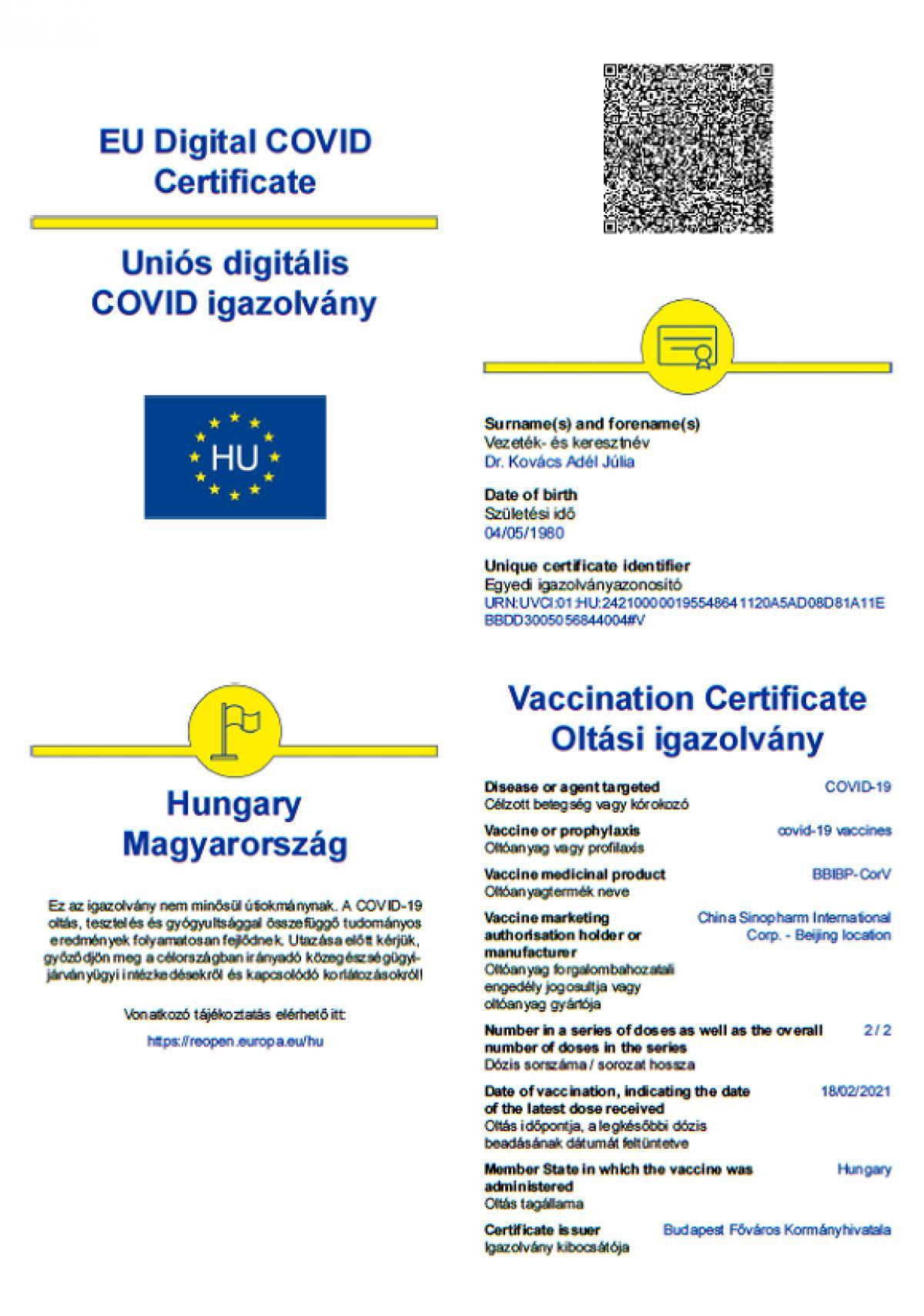 Mutatjuk a részleteket: Itt az Uniós Digitális Covid Igazolvány