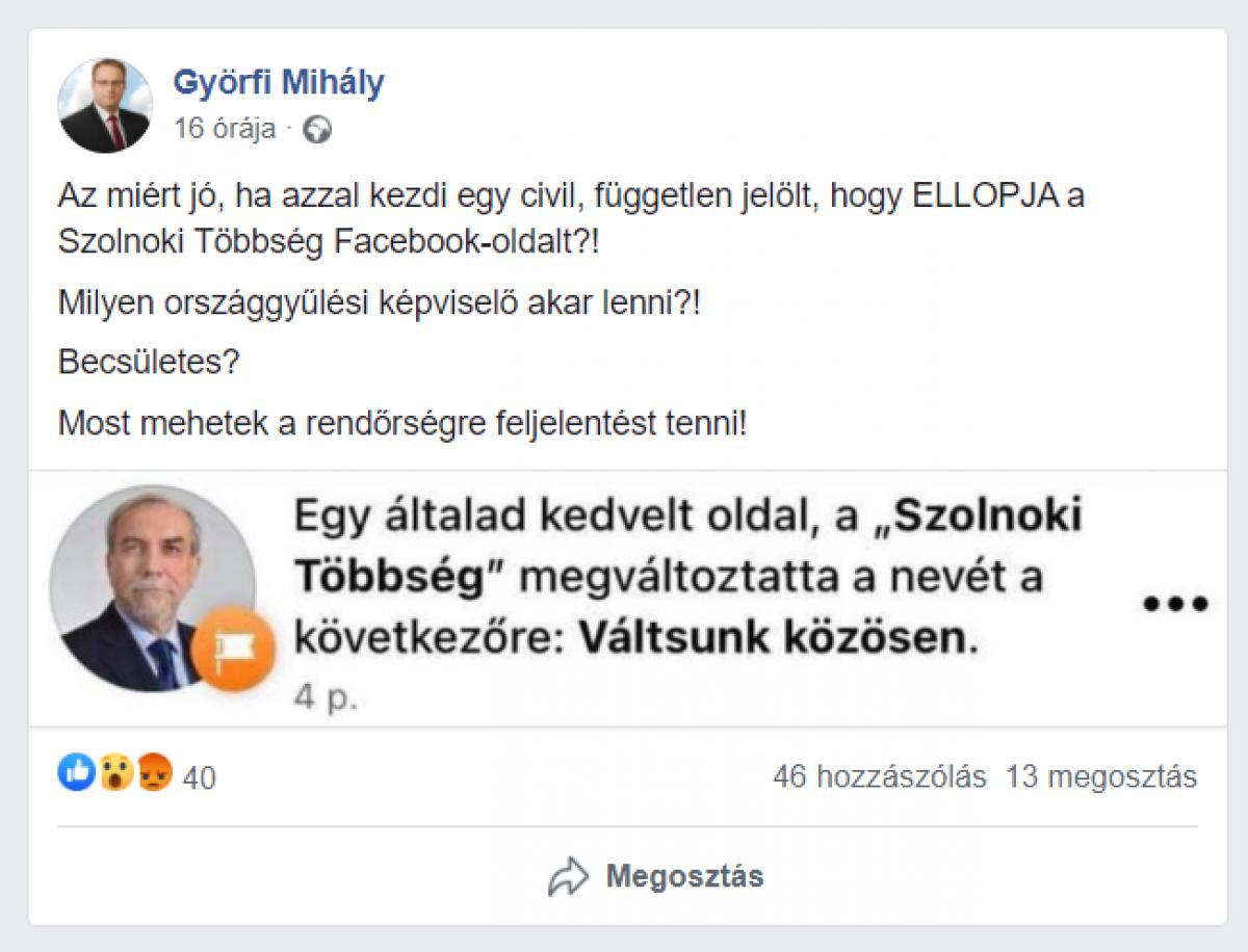Szolnok: kicsavarták a jobbikosok a közös Facebook-oldalt az ellenzék kezéből, és átadták azt a DK-s jelöltnek