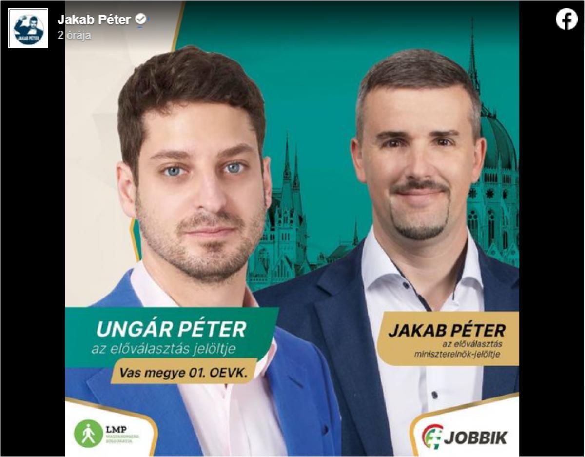 Újabb ellenzéki paktum az előválasztás előtt: Ungár Péter mögé állt be Jakab Péter Szombathelyen