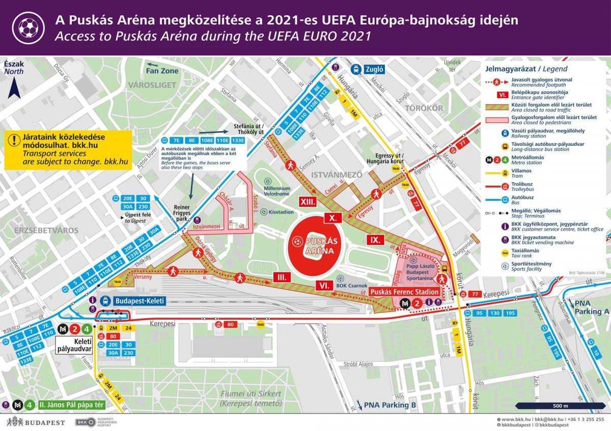 Megváltozik a közlekedés a Puskás Aréna körül kedden a magyar-portugál előtt és után